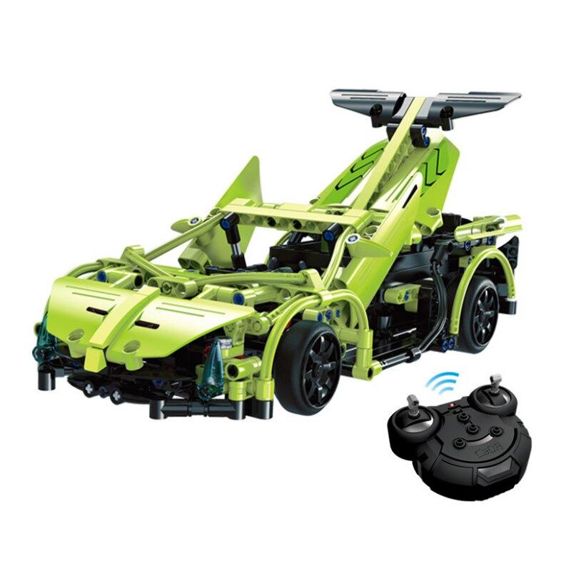 Cada C51007 MOC سلسلة التكنولوجيا الفائقة اللبنات الخضراء التحكم عن بعد سوبر سباق السيف Sportcar 453 قطعة الطوب اللعب هدية