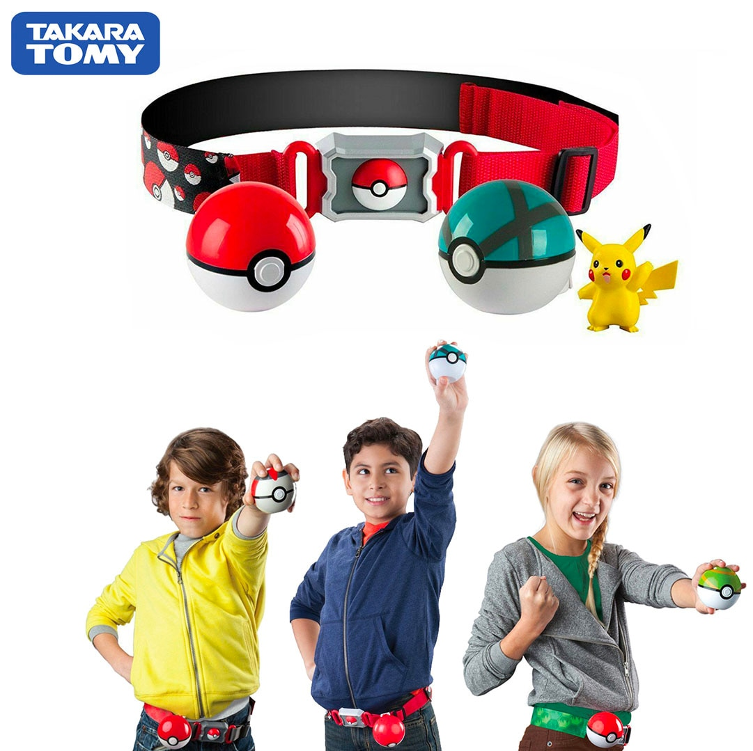 Genuine US Version Pokemon Master Elf Ball Belt Set Telescopic TAKARA TOMY Toys for Children Gift
