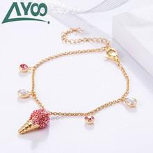 AYOO High Quality SWA Sweet Pink Ice Cream Drop Bracelet