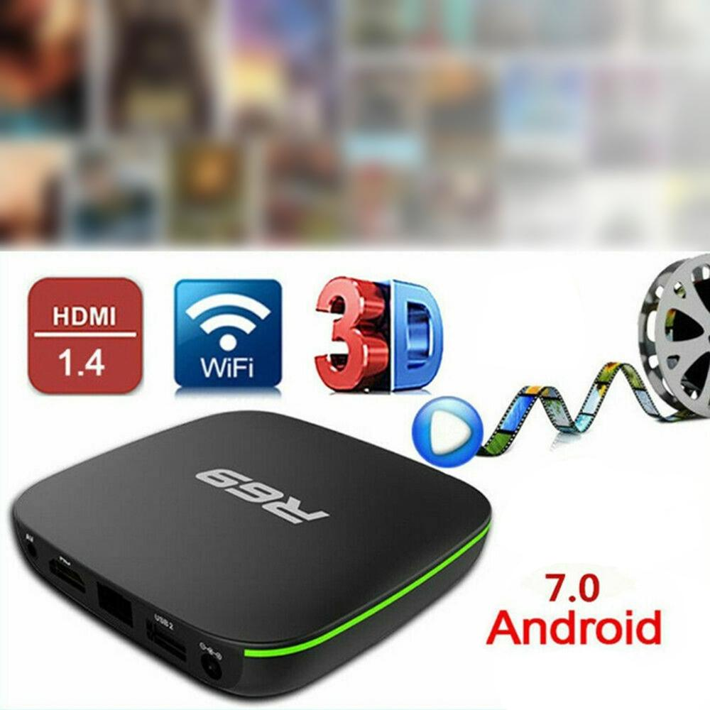 R69 android 7.1 smart tv box 1 + 8g quad core hd 2.4 ghz wifi 4 k media player 1080 p hd suporte filme 3d uk plug