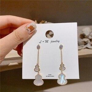 JP25 S925 Silver Needles Gourd Drop Earrings High-End Tide Full of Cubic Zirconia Earring Small Gourd Long Jewelry Accessories