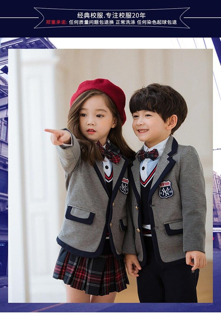 2021 New Boy School Uniforms for Primary School Students Girl Uniform Set Boys Clothes Set Spring Blazer+Pants+Shirt Suit enlarge