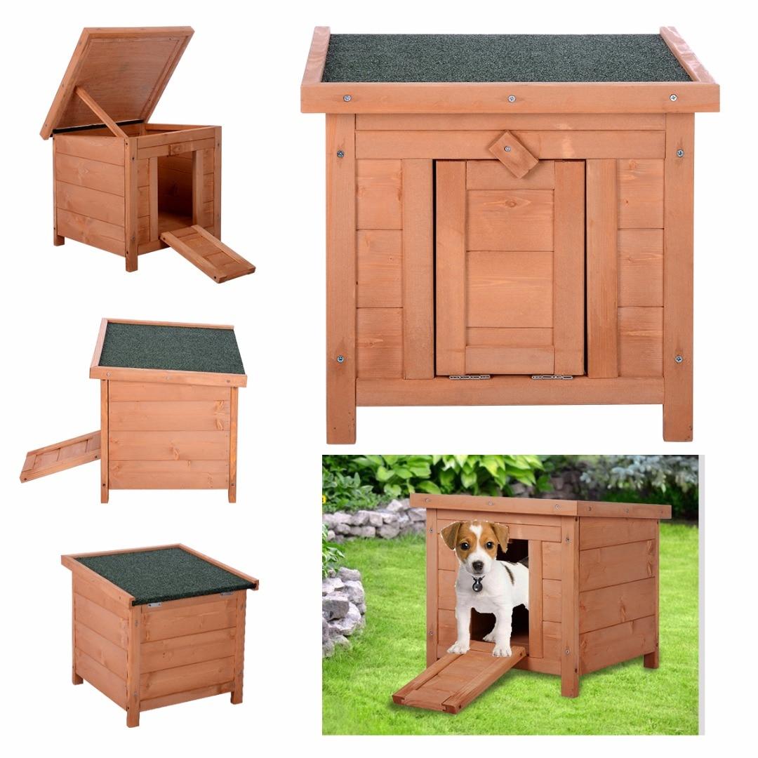 Casa de perro de madera para mascotas cama de perro perrera exterior y interior casa de madera para mascotas Refugio impermeable removible perros perrera 45,5*43,5*43 cm