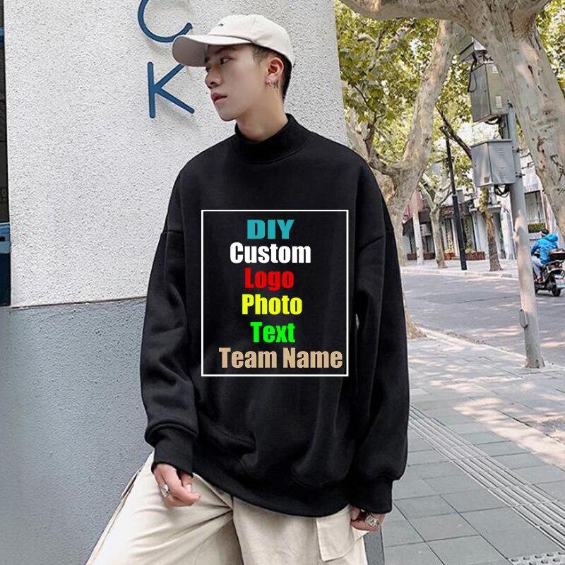 Personalizar su logotipo juvenil otoño/invierno medio cuello redondo más terciopelo manga larga Jersey hombres suéter