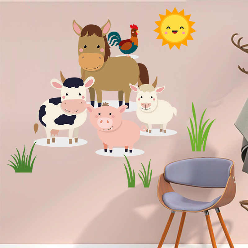 Calcomanías De Pared De Animales De Granja Vaca Oveja Pollo Pegatinas De Arte De La Pared Para Dormitorio De Niños Adhesivos Para Pared Aliexpress