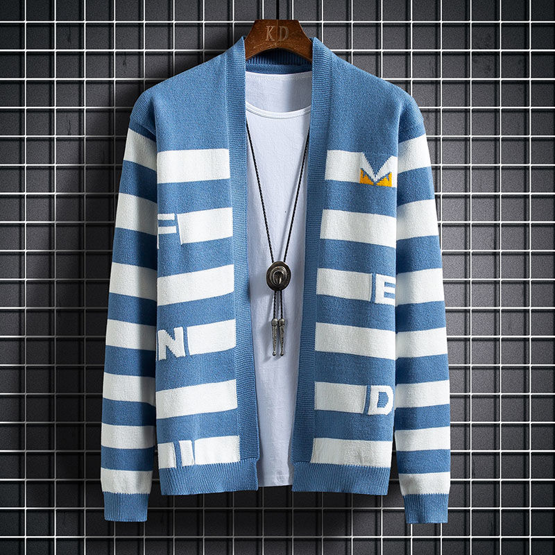Suéteres De rayas De contraste para Hombre, cárdigan De moda, suéter De...