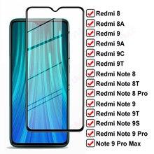 Vetro temperato completo 11D per Xiaomi Redmi 8 8A 9 9A 9C 9T pellicola proteggi schermo Redmi Note 8 9 Pro Max 8T 9T 9S pellicola protettiva in vetro