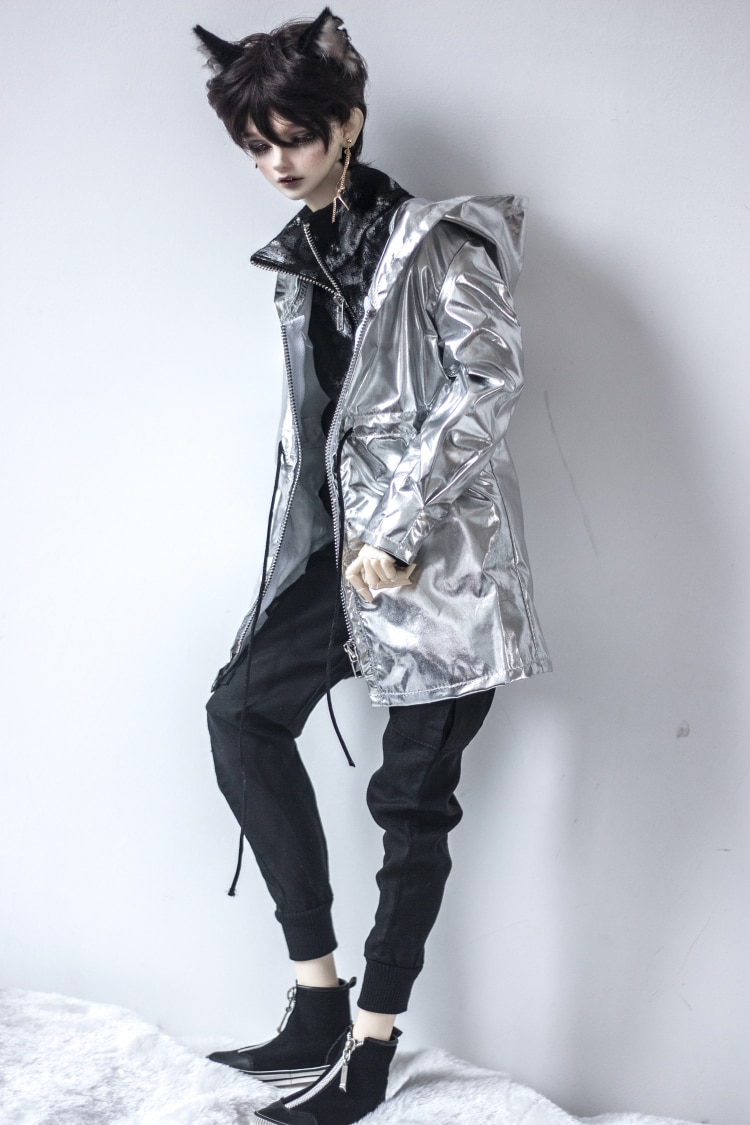 BJD кукольный костюм для 1/3 1/4 MSD Uncle Размер куклы модная Новая серебряная расшитая блестками куртка с капюшоном на молнии с кукольными аксессу...