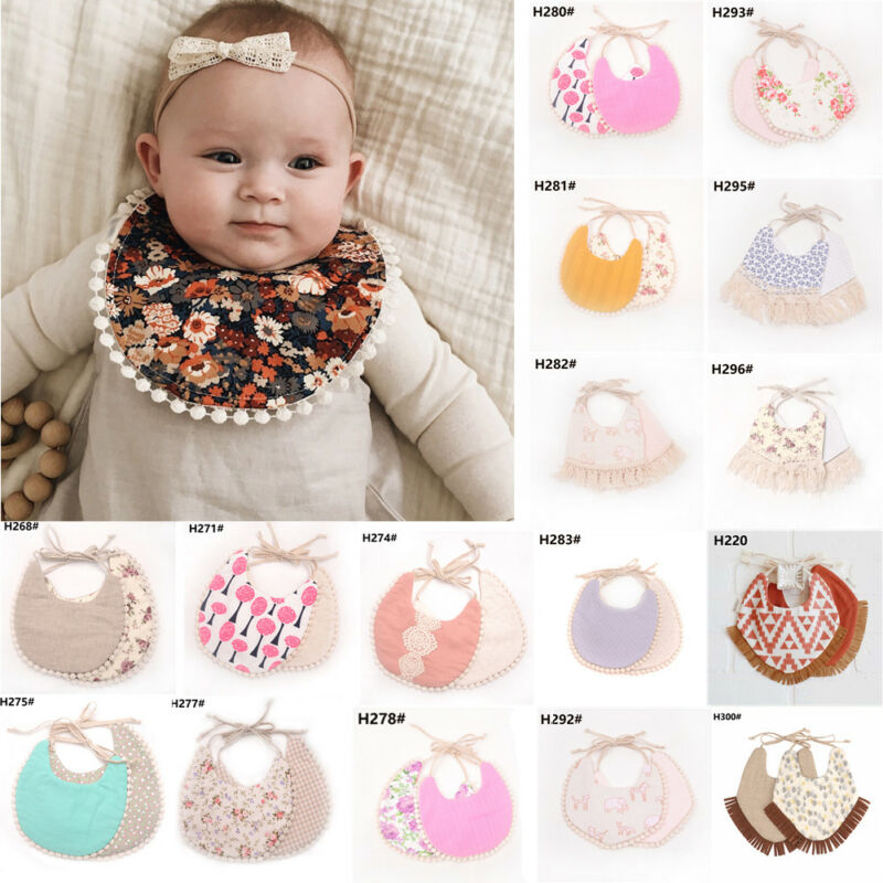 100% algodón nuevo bebé niña niño cena alimentación babero chico niño borla doble cubierta de lino bebé Saliva toalla Burp paños