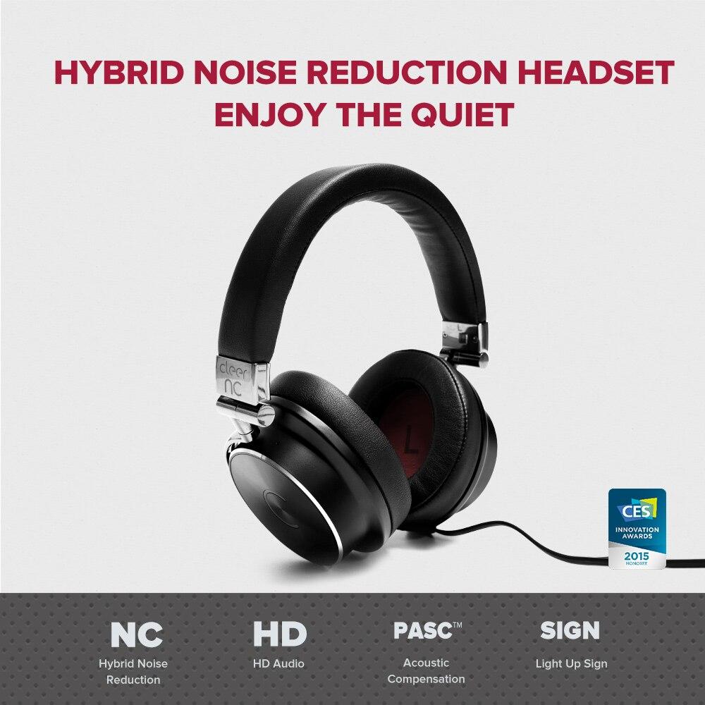 Cleer NC 하이브리드 소음 차단 유선 헤드폰 하이 오디오 컴퓨터 게임 헤드셋과 호환 낮은 대기 시간 게임용 이어폰