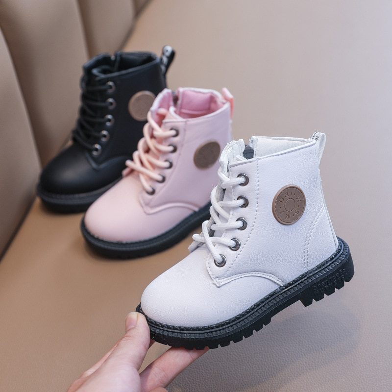 Kids Boots for Baby Girls Candy Color Patent Leather Martin Boots Lace Up and Anti-Slippery Sole Ankle High Boots for Baby Boys
