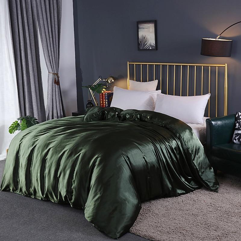 طقم سرير صيفي مع أغطية بسحاب فاخر لحاف ساتان كتان فوندا نورديكا حرير لوفيت مفرد أحمر وردي أخضر Bz3