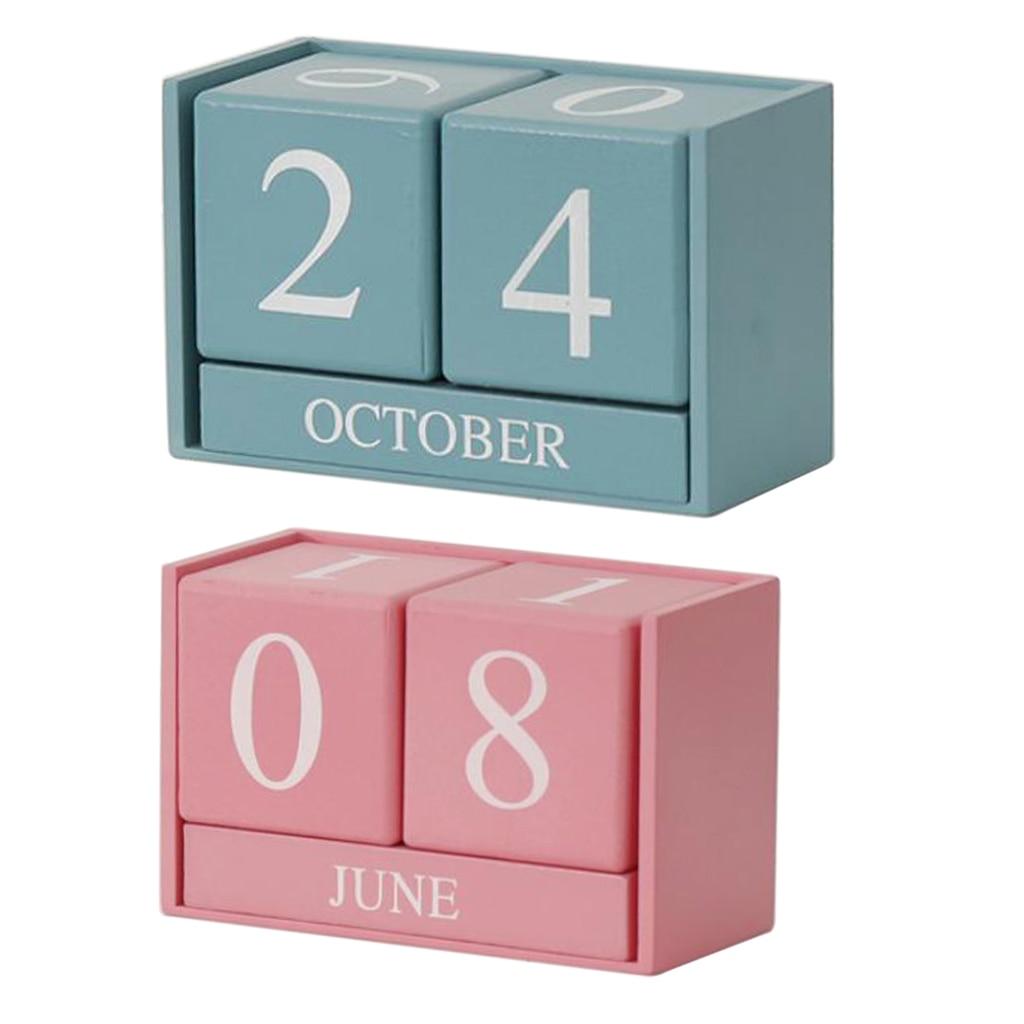 Вечный стол в винтажном стиле, календарь, деревянные блоки для домашнего декора