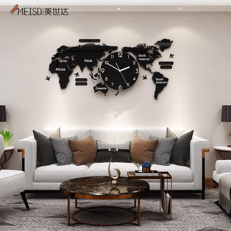 MEISD لكمة خالية كبيرة خريطة العالم ملصقات صناعة يدوية ساعة حائط ساعة كوارتز كتم الحديثة الذاتي لاصق تصميم Horloge الفن شحن مجاني