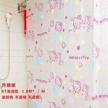 Eco-friendly PEVA Hello Kitty Shower Curtain Waterproof Mould Proof Bathroom Curtain With Shower Hooks Bath Screens 180*200cm