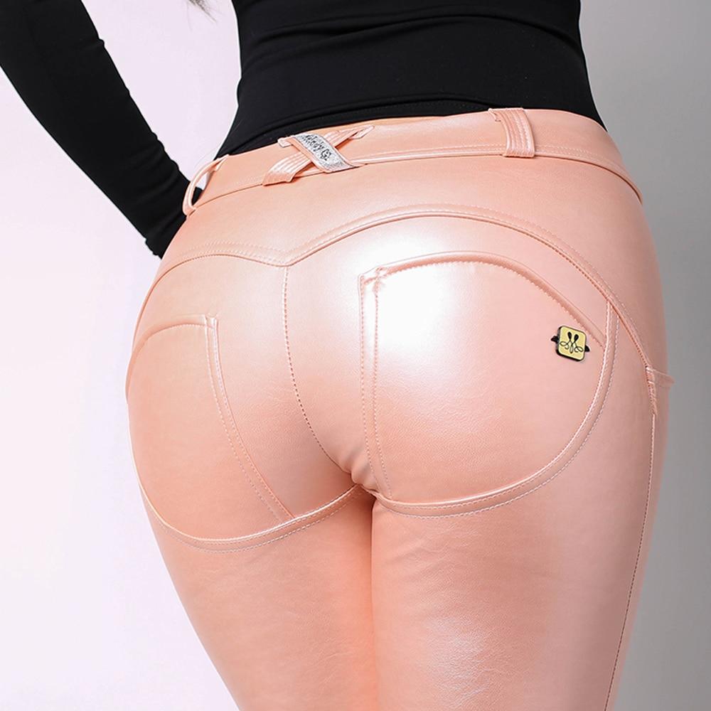 ميلودي وير-بنطلون جلدي وردي ، مظهر معدني ، جلد صناعي ناعم للنساء ، بدلة رياضية وردية ، بنطلون تدريب