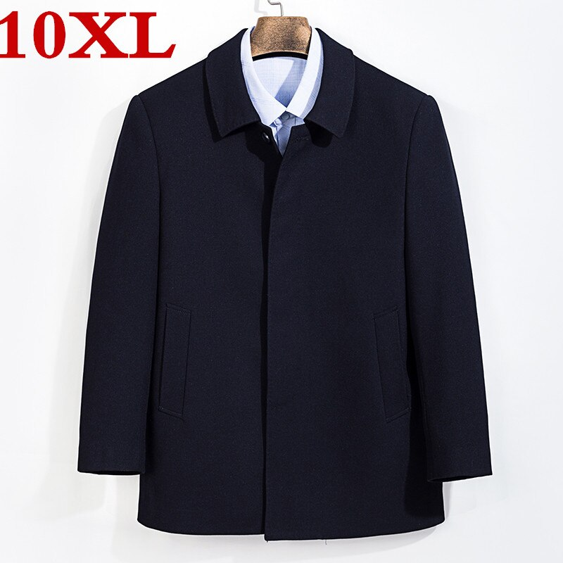 Novo tamanho grande 8XL 7XL Homens Casaco Corta-vento de Inverno Moda Mens Casaco de Lã de Qualidade Casaco Masculino de Lã Grossa Trincheira Quente casaco