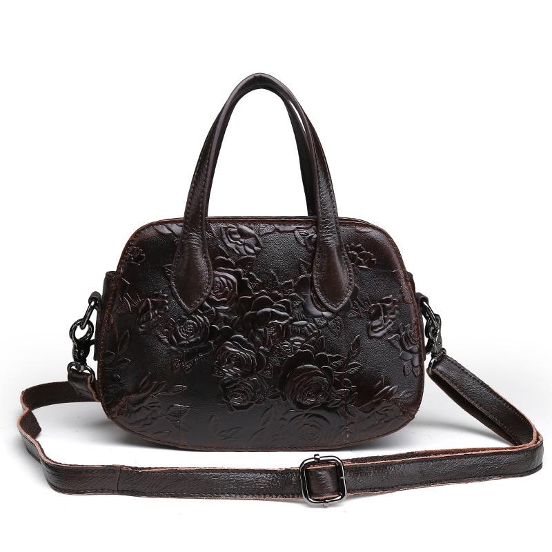 حقيبة كتف جلدية منقوشة بالزيت ، حقيبة يد ريترو
