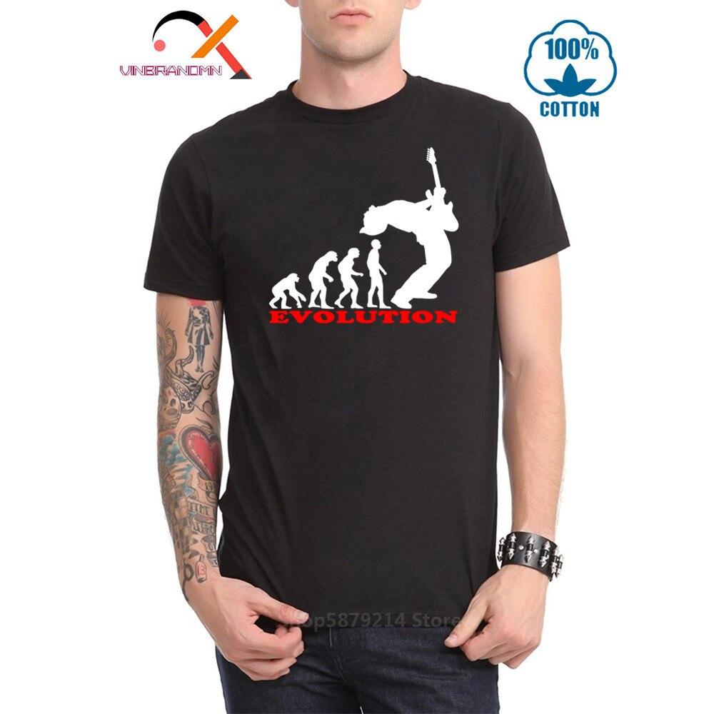 Divertida guitarra Cool Bass Player Evolution camiseta de moda Top camiseta de hombre Músico de algodón de manga corta Hipster Casual camisetas fit