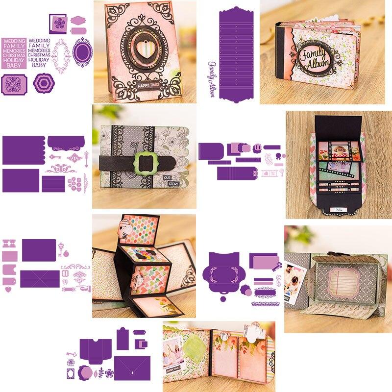 Мини-карманные рамки альбомы карточки с водопадом закладки страниц металлические режущие штампы для DIY скрапбукинга ремесло изготовление бумажных открыток 2019 Новинка