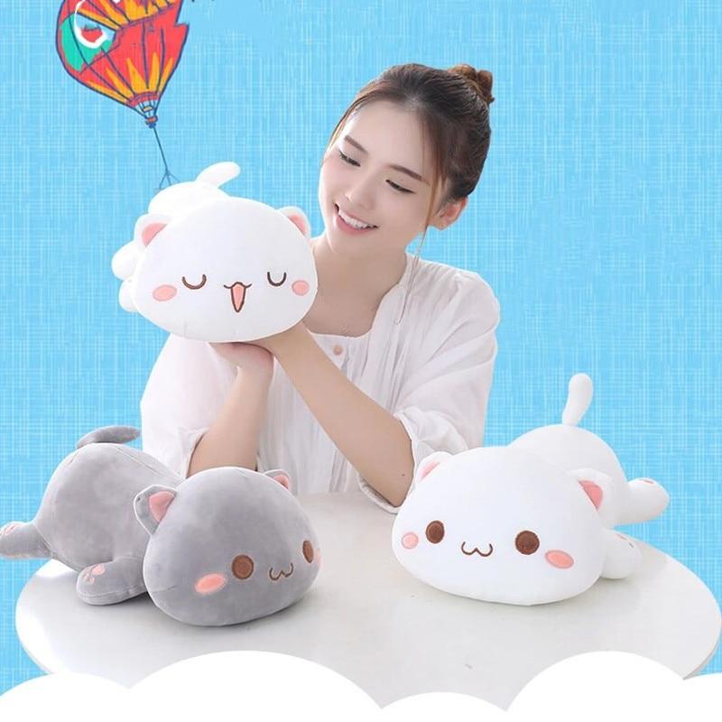 nice 1pc 35cm plush cat toys stuffed animal 35cm Kawaii Interactive Baby Plush Cat Pillow Dolls Stuffed Animal Toys Plushie Stuff Cute Plushies Toy Plushy Doll Kids Girls
