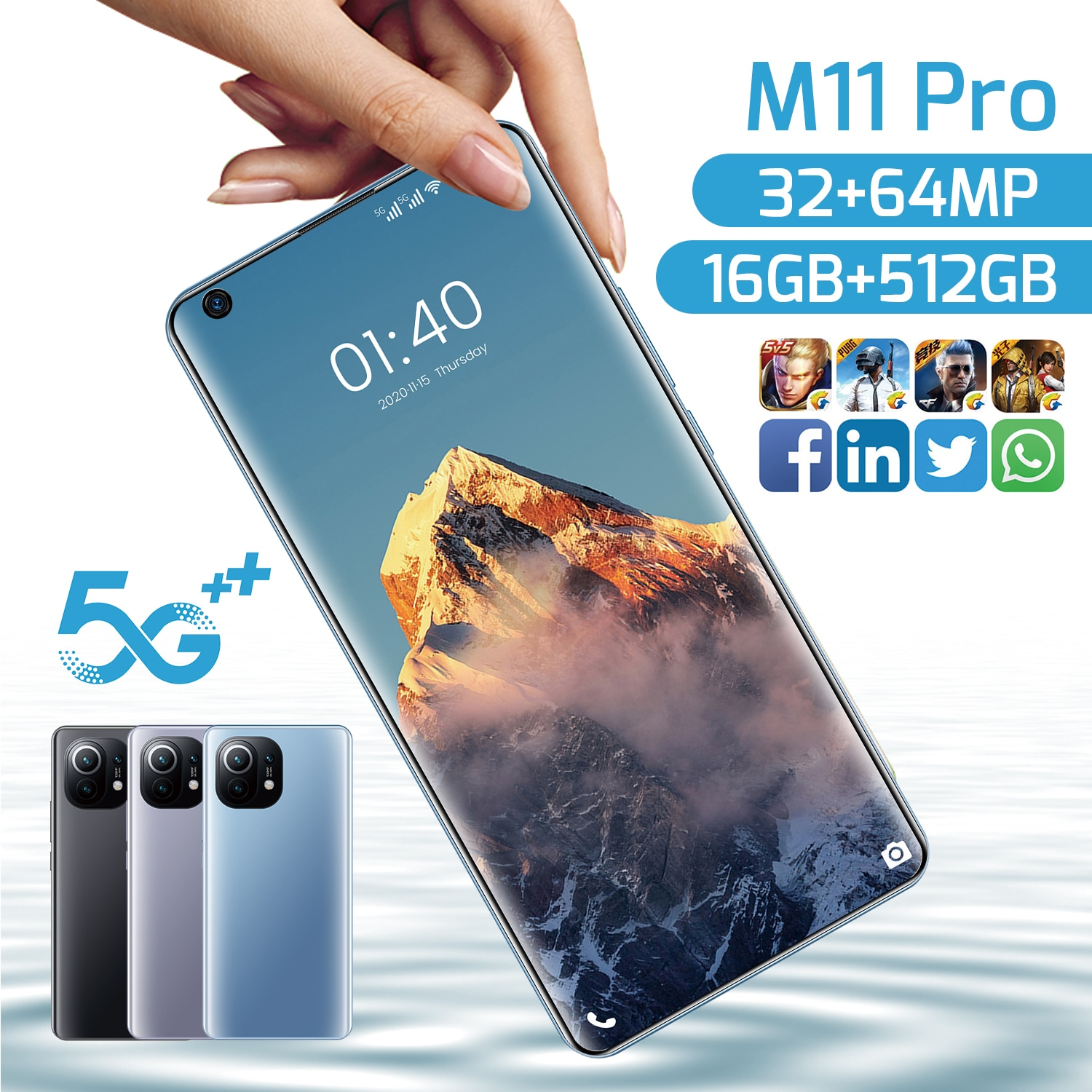 2021 Newest  M11 Pro 7.3 Inch Smartphone 10 Core 6800Mah 16+512GB 32MP+64MP Fual Screen Dual SIM 5G Android Mobile Phone