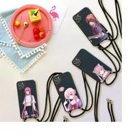 gasai yuno anime phone case for iphone 7 8 11 12 x xs xr mini pro max plus strap cord chain lanyard soft