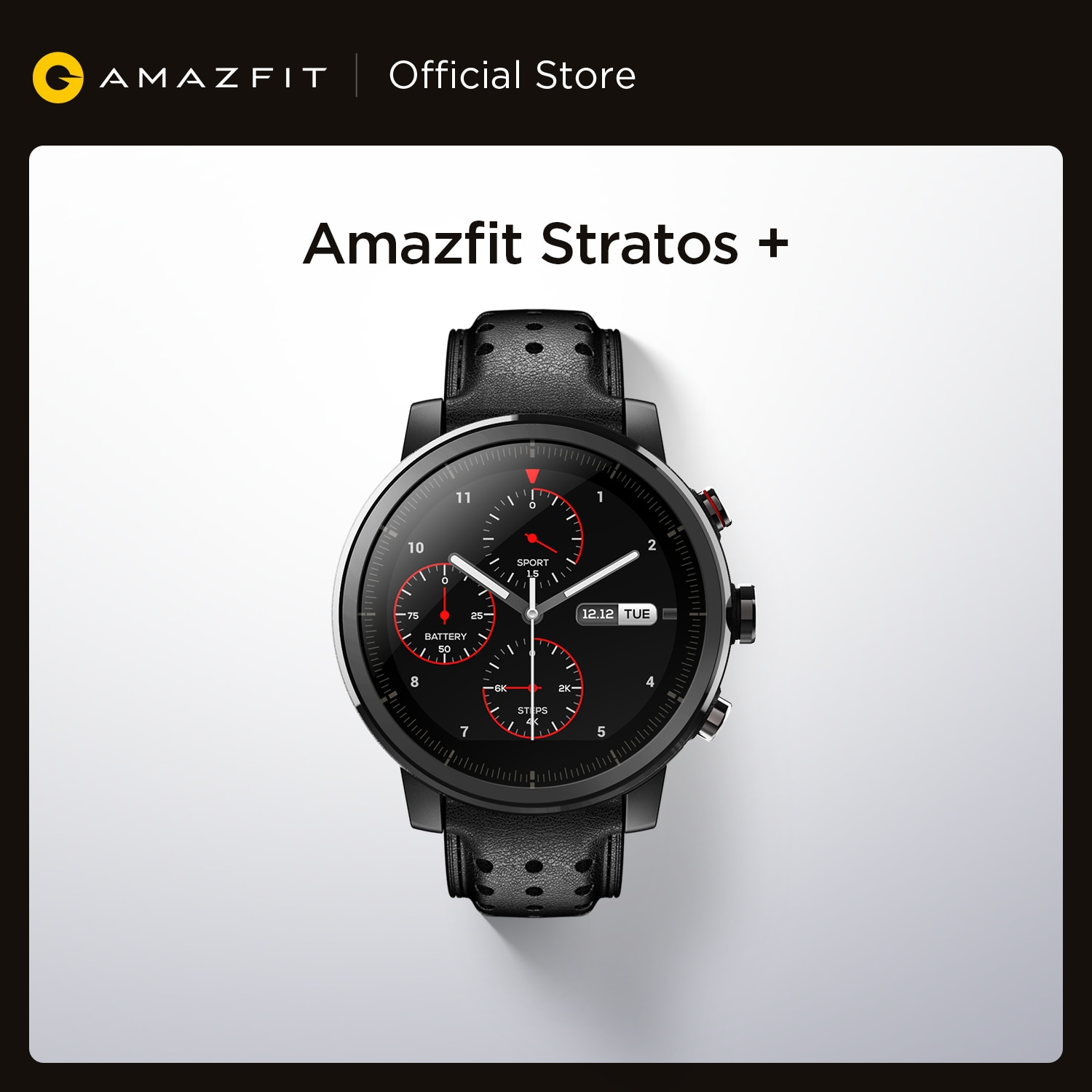 Promo In Stock Amazfit Stratos+ Flagship Smart Watch Genuine Leather Strap Sapphire Glass Flourorubber Strap for Android Phone