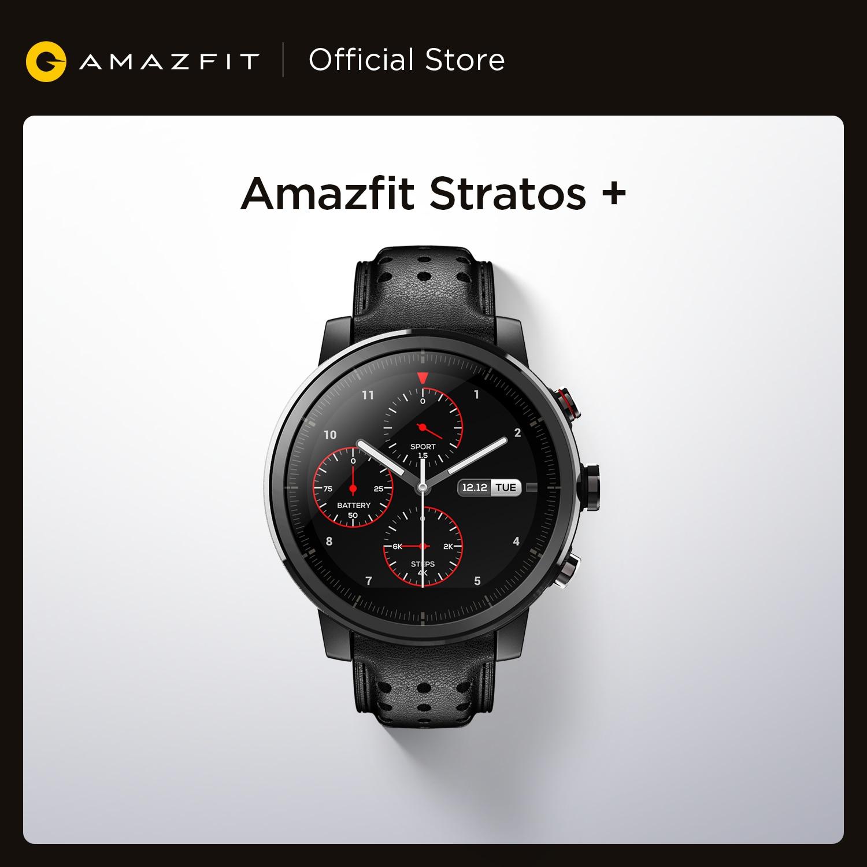 Amazfit-ساعة متصلة Stratos لهواتف Android ، سوار من الجلد الطبيعي وزجاج الياقوت ، متوفر