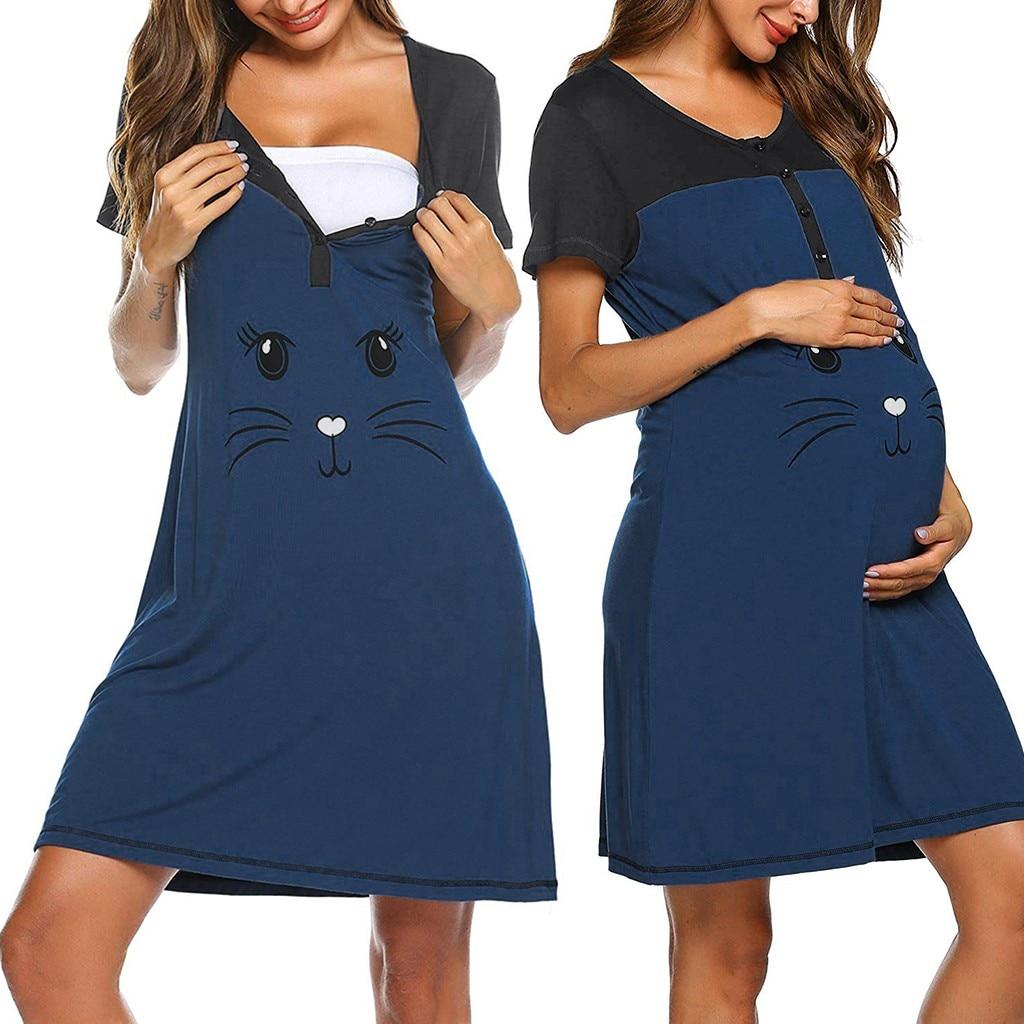 Pijama de embarazo para mujer, premamá de manga corta, estampado bonito, Camisón de lactancia, vestido de lactancia, pijama de grossesse @ 35
