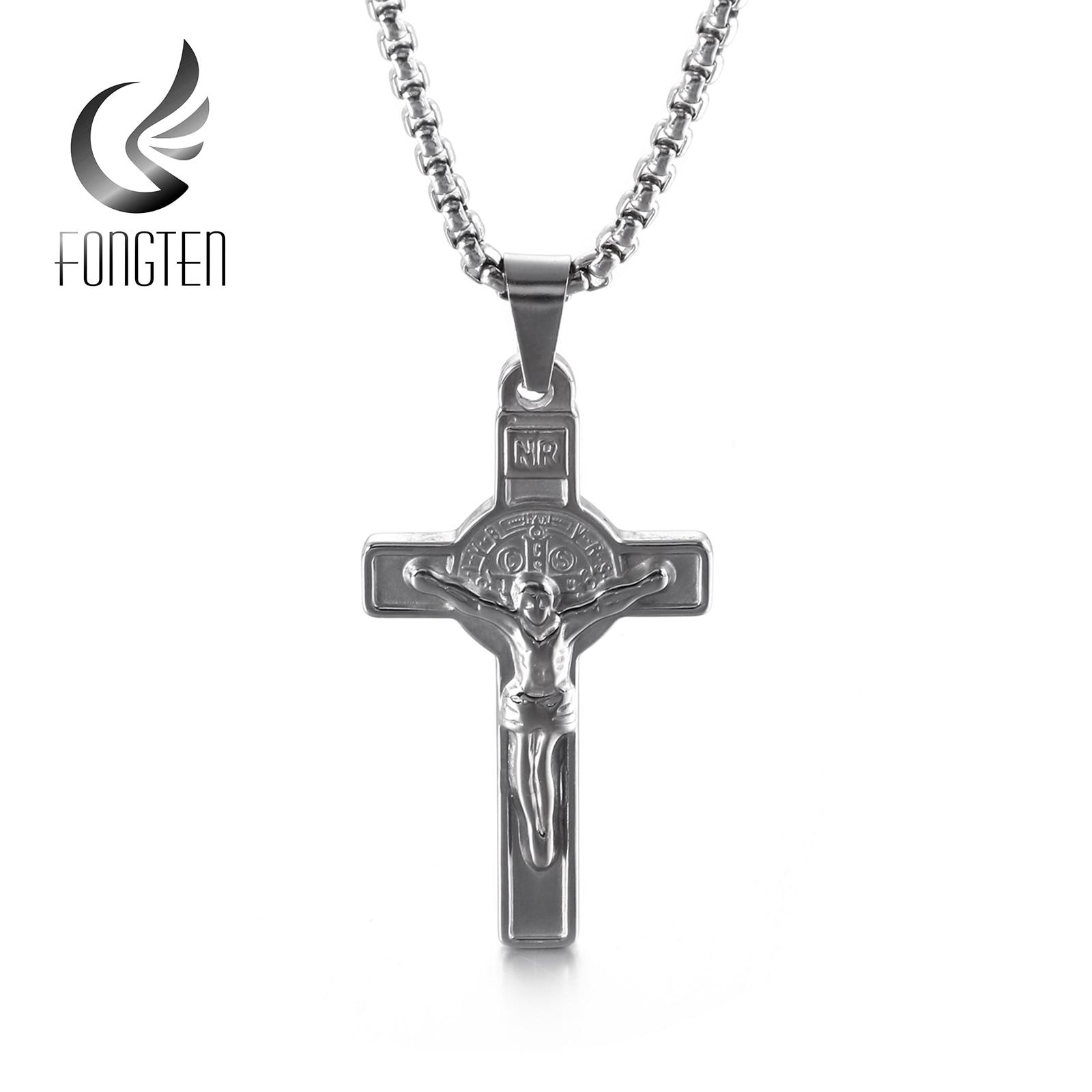 Fongten Hip Hop Cross Pendant Necklace Stainless Steel Jewelry for Men Punk Jesus Chains Necklaces