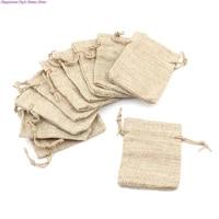 10pcs fashion small burlap jute sack linen pouch bag drawstring wedding supplies