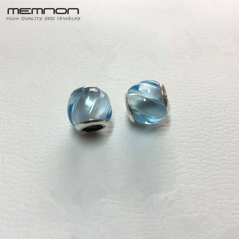 Memnon, Primavera, 2 unidades/lote, abalorios de Murano de cristal azul, cuentas de joyería de plata de ley 925, pulseras de abalorios adecuadas, diy para mujeres, BD170