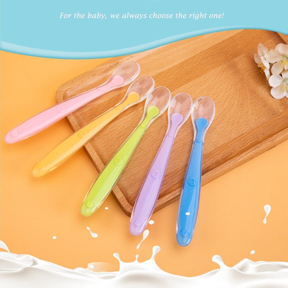 Детская Мягкая силиконовая ложка конфетного цвета с датчиком температуры, Детские Пищевые Инструменты для кормления детей