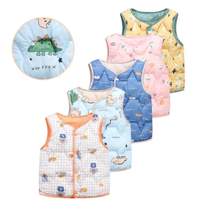 Sleeveless Coat Winter Warm Cotton Jacket for Boys Girls Cartoon Pattern Cute Baby Kids Children Ves