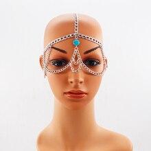 Fashion Simple Women Punk Metal Head Chain Halloween Jewelry Forehead Headband mask chain Hair accessories Women