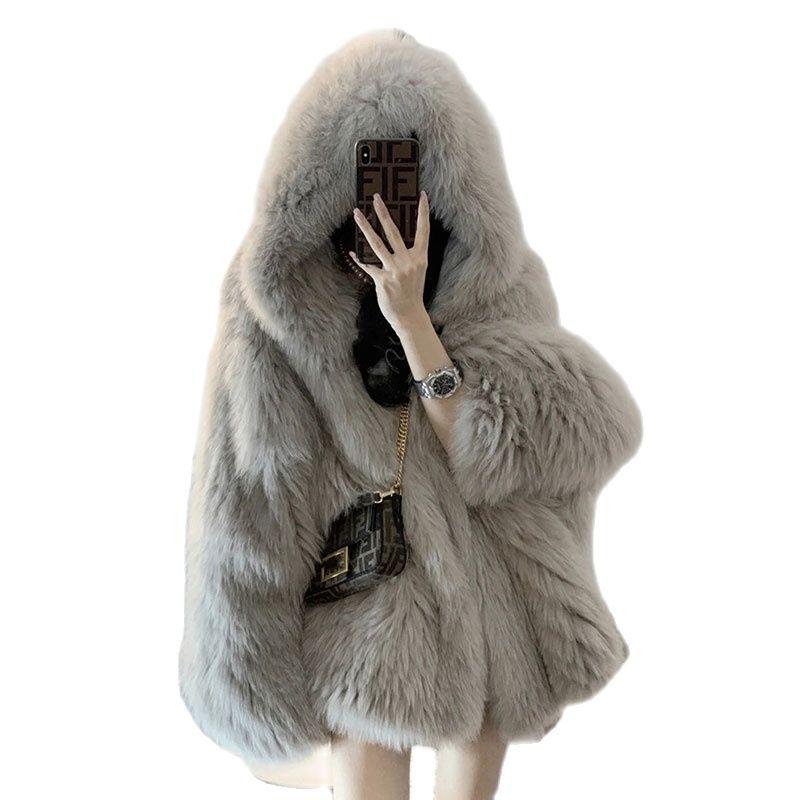 Пальто женское зимнее 2021 корейское новое пальто из искусственного меха женское осеннее пальто с капюшоном