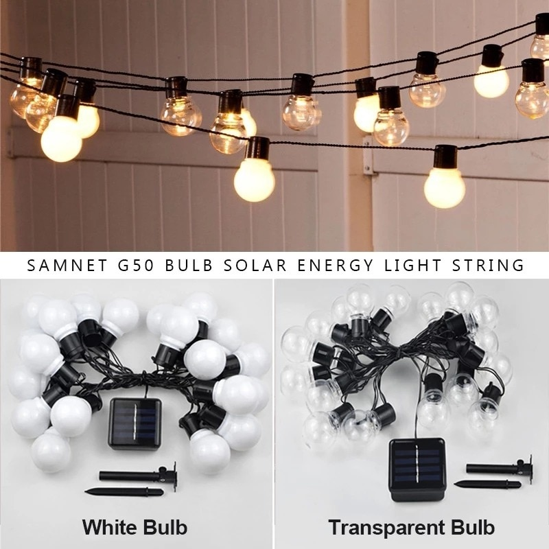 Globe Bulb Fairy Lights String Christmas Solar Outdoor Garland Wedding Led Light Garden Street Lamp