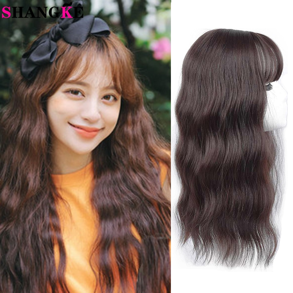 SHANGKE New Type Women's Body Wave Synthetic Head Hair Block Wigs With Bangs Black Brown Closure Heat Resistant Fake Hair