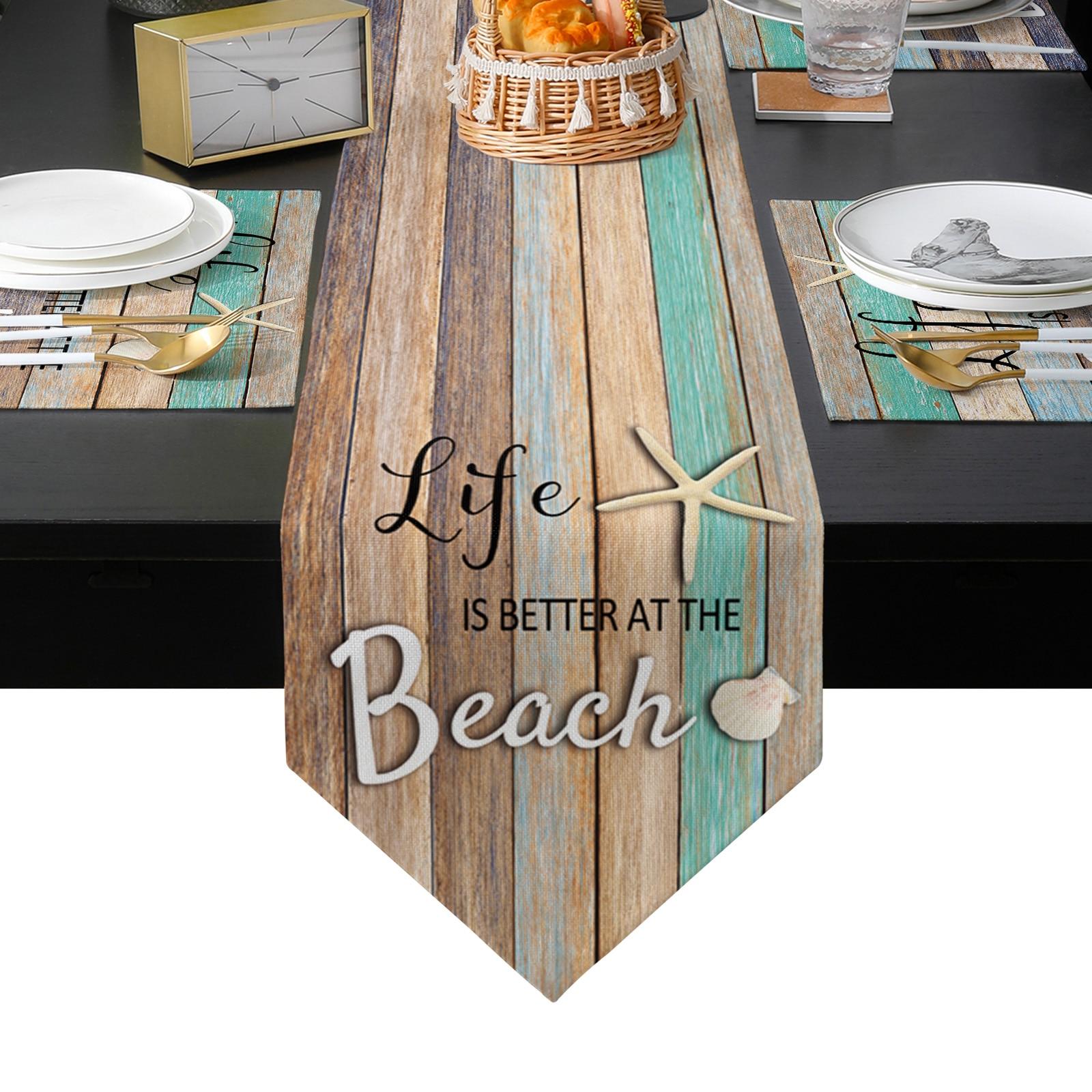 المحيط شاطئ الخشب الحبوب نجم البحر شل الجدول عداء تحديد الموقع مجموعة سماط طاولة طعام حصيرة المنزل الزفاف الجدول الديكور