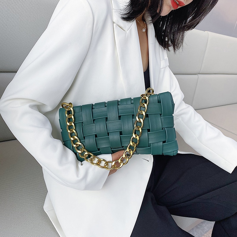 Weave Design PU Leather Crossbody Bags For Women 2020 Luxury Solid Color Shoulder Handbags Chain Cross Body Bag baguette bag
