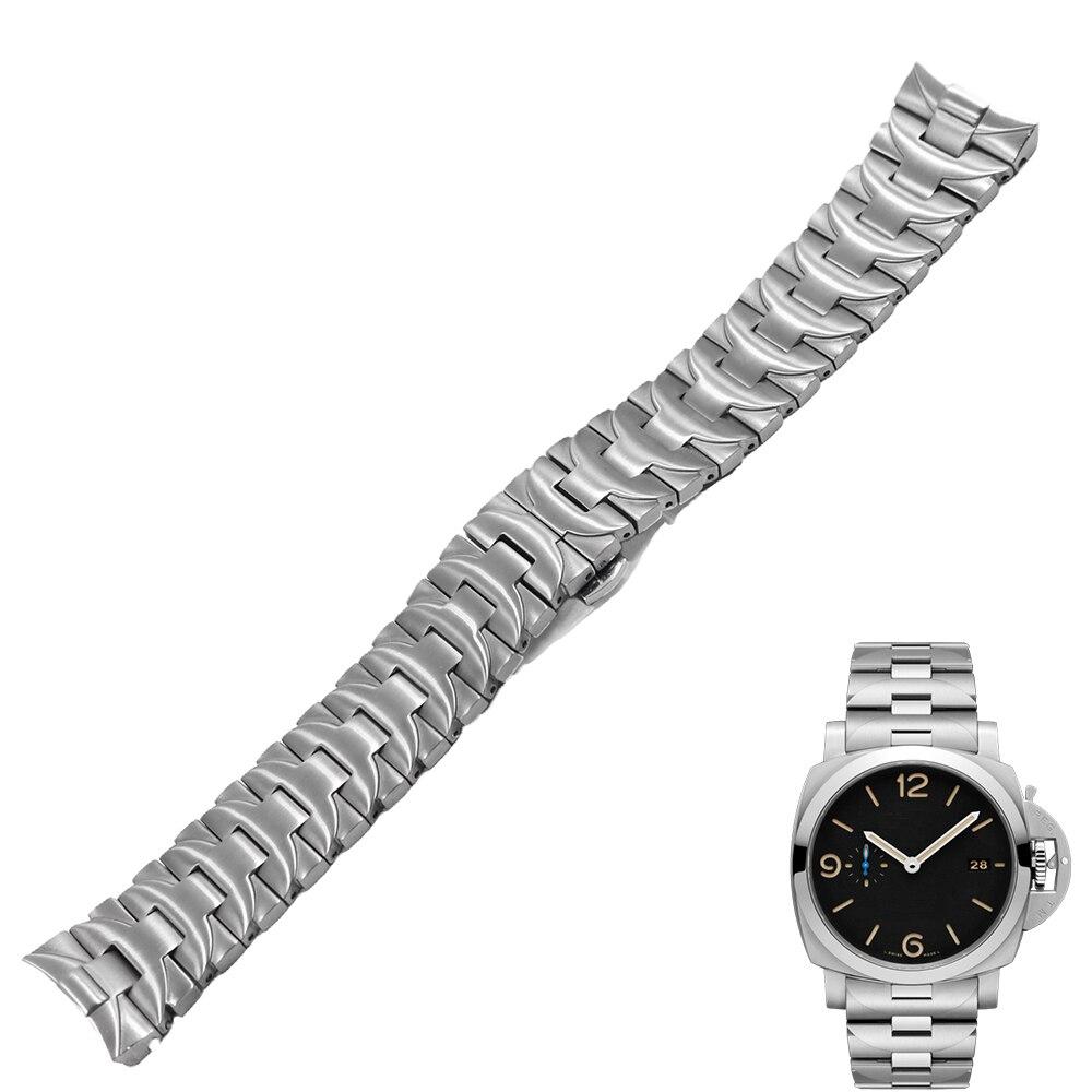 Correa de reloj de acero inoxidable Carlywet 24mm 316L doble cierre de plata para Panerai Luminor estilo hombre