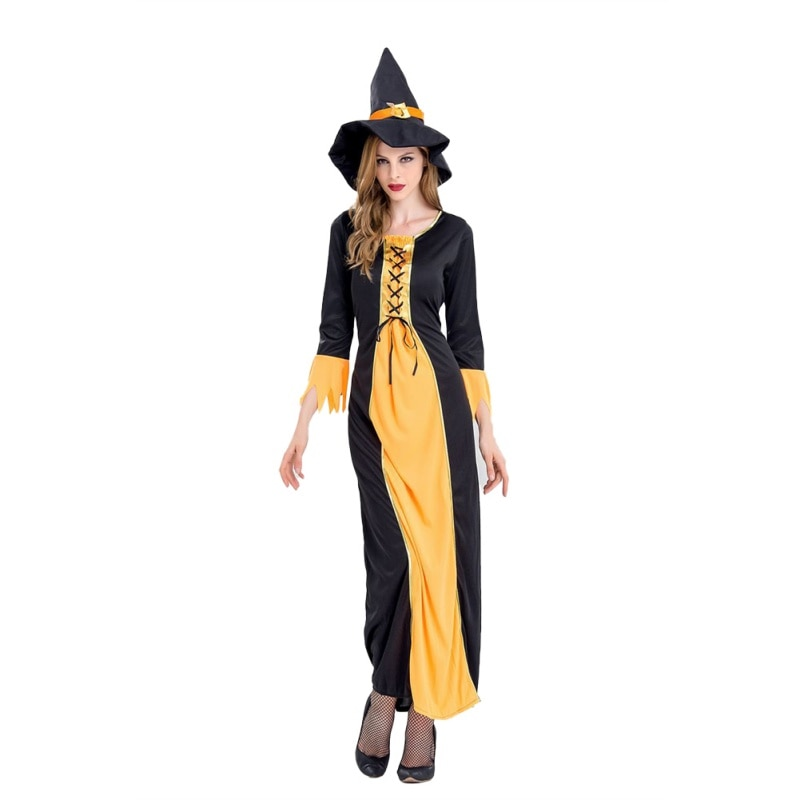 Disfraz de Halloween disfraz de bruja para adultos Cosplay Bar para fiesta disfraz negro L vestido de moda para mujer 2019 Venta caliente