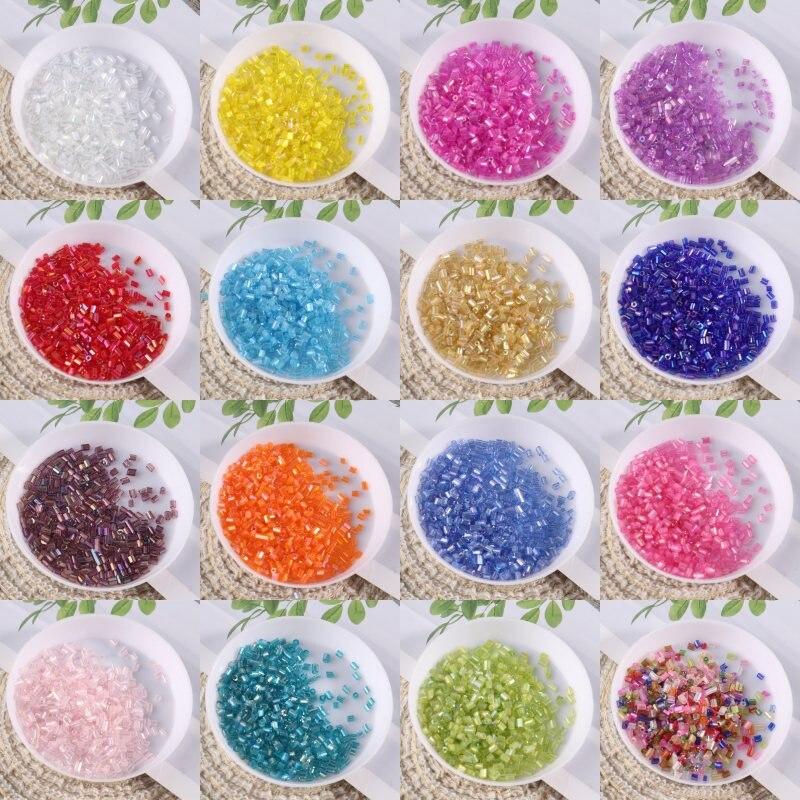 1200Pcs/Lot 2mm Brilliant Glass Beads Transparent DIY 11/0 Glass Bugle Seedbeads For Craft Jewelry Garment Accessories