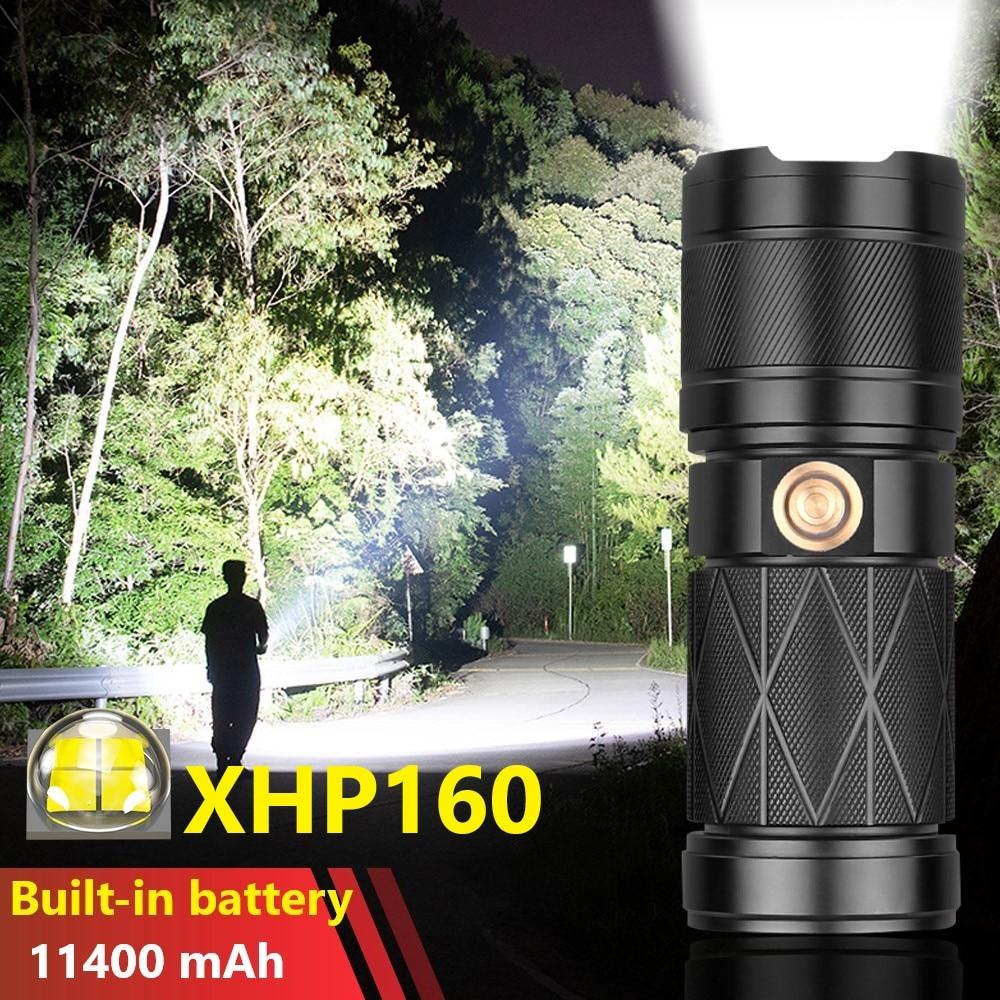 سوبر XHP160 قوية مصباح ليد جيب المدمج في 11400 mAh بطارية USB قابلة للشحن التكتيكية مصباح يدوي عالية الطاقة العمل ضوء فلاش
