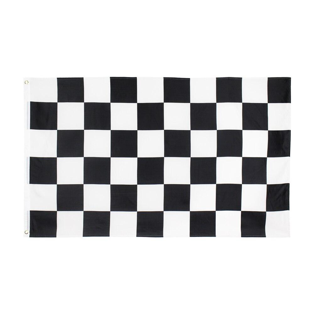 Черно-белый квадратный клетчатый флаг, 90х150 см