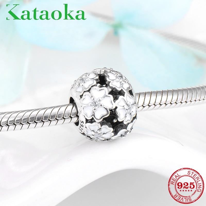 Dia das mães forma redonda flor 925 prata esterlina esmalte branco talão fino caber pandora original charme pulseira jóias fazendo