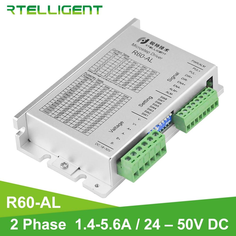 Rteligent 24-50VDC نيما 24 محرك متدرج سائق R60-AL باستخدام الحاسب الآلي مع المرحلة المفقودة وظيفة التنبيه و IO التحكم السائر سائق