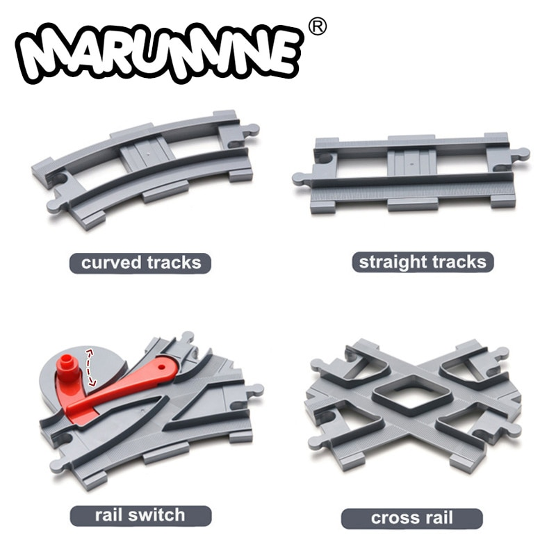 Marumine Duplo Train Tracks Blocks Toys Crossover Parts Railway Switch Building Bricks City Parts Gi