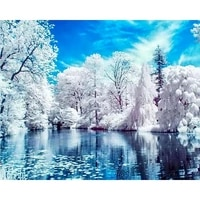 Peinture a lhuile de paysage de neige  bricolage  peinture acrylique sur toile  decorations murales pour maison
